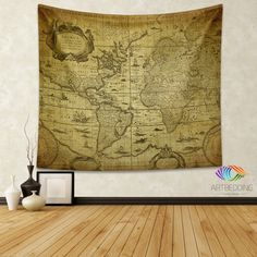 Vintage world map wall tapestry america vintage world map wall vintage world map wall tapestry world map wall hanging old map wall decor gumiabroncs Image collections