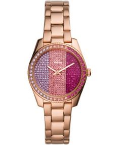 Women's Scarlette Mini Rose Gold-Tone Stainless Steel Bracelet Watch 32mm - Limited Edition | macys.com Mini Roses, Stainless Steel Bracelet, Michael Kors Watch, Gold Watch, Fossil, Bracelet Watch, Rose Gold, Watches, Crystals
