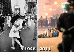 Eisenstaedt's iconic 1945 VJ Day Times Square Kiss and Rich Lam's iconic shot from last year (2011) taken in Vancouver (Getty).