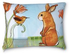 Standing Bunny with Wren and Tulips Pillow. Fade, mildew and weather resistant.