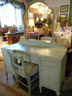Vintage Vanity done in Chalk Paint® decorative paint by Annie Sloan Duck Egg and Old Ochre. Painted by Diane Dabbs #thefarriswheelantiquesandcollectibles
