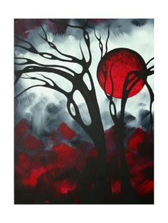 Abstract Gothic Art Original Landscape Painting Imagine I By Madart Painting by Megan Duncanson Abstract Landscape Painting, Landscape Paintings, Abstract Art, Art Paintings, Abstract Trees, Satan, Goth Art, Contemporary Artwork, Art Auction
