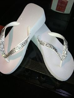 White Wedge with clear Swarovski Crystals