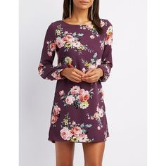 Charlotte Russe Floral Caged-Back Shift Dress ($21) ❤ liked on Polyvore featuring dresses, multi, chiffon dresses, purple chiffon dress, bell sleeve shift dress, purple dresses and purple floral dress