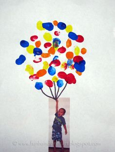 Baby+Footprint+Crafts | Glue the photo just below the balloons and draw on some balloon ...