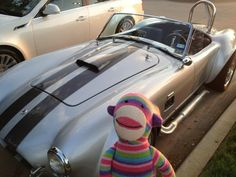 Pier 1 Rainbow Sock Monkey enjoys vintage cars