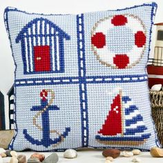 Twilleys Cross Stitch Cushion Front - Nautical Design - all materials included in the kit - matching draught excluder also available Cross Stitch Sea, Cross Stitch Cushion, Cross Stitch Cards, Cross Stitch Kits, Cross Stitch Designs, Cross Stitching, Cross Stitch Embroidery, Cross Stitch Patterns, Nautical Cushions