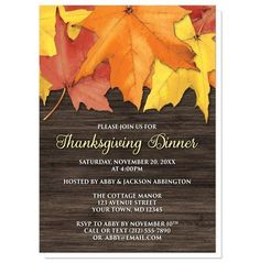 I wanted to share with you these Rustic Autumn Leaves Wood Thanksgiving Invitations? Do you like them?    Southern country Autumn inspired Thanksgiving invitations, with rustic yellow, orange, and red Fall leaves over a dark brown wood pattern illustration. These full color invitations are rich in color and the perfect choice for inviting your family and friends to your Seasonal holiday Thanksgiving dinner.