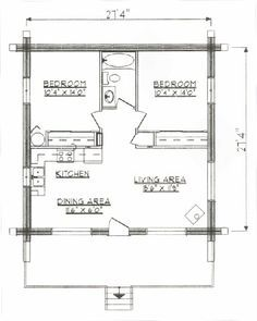 Log Home Floor Plan Under 1000 Square Feet, Sq Ft