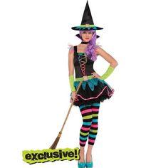 Who likes my Halloween costume? Teen Girls Neon Witch Costume with Hat - Halloween City Teen Girl Costumes, Cute Halloween Costumes For Teens, Boy Costumes, Costume Ideas, Halloween Ideas, Halloween City, Halloween 2016, Teen Girl Parties, Witch Fancy Dress