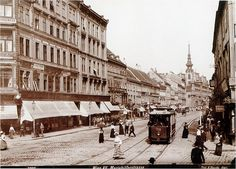 Electric Tram, Vienna. Innere Mariahilfer Straße, view towards the city centre, with tram, 1908.