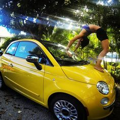 Need some #inspiration? Mix up yellow #fiat500 & add some #yoga!