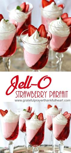 Pretty Christmas Jello Dessert (that's calorie friendly - Low Calorie, Super pretty Strawberry Jello parfait dessert - Parfait Desserts, Jello Parfait, Strawberry Parfait, Low Calorie Desserts, Parfait Recipes, Strawberry Jello, Jello Recipes, Strawberry Desserts, No Calorie Foods
