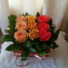 Mixed Roses in a wooden box Wooden Boxes, Floral Wreath, Wreaths, Flowers, Plants, Pink, Roses, Inspiration, Home Decor