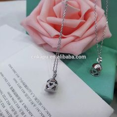 New products 925 sterling silver cage pendant heart necklace in rhodium plated