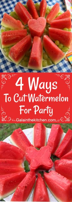 6 easy and impressive techniques to cut watermelon for the party. Watermelon Punch, Watermelon Festival, Cute Food, Good Food, Salad Decoration Ideas, Watermelon Designs, Food Garnishes, Garnishing Ideas, Picnic Foods