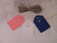 30 DIY Nautical Wedding Placecards / Gift Tags with UNattached Twine / Escort Cards / Coral White Navy / Wedding Wish Tree Tags on Etsy, $15.00
