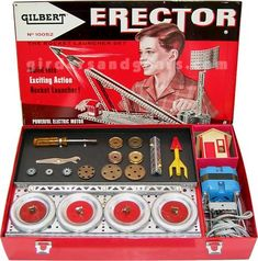 Erector set for junior engineers. 1960s Toys, Retro Toys, Vintage Toys, Retro Vintage, Baby Boomer, Childhood Days, Old Ads, Classic Toys, Antique Toys