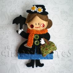 felt mary poppins - seriously, this is practically perfect! Fabric Crafts, Sewing Crafts, Sewing Projects, Felt Patterns, Disney Crafts, Felt Fabric, Felt Diy, Felt Hearts, Felt Dolls