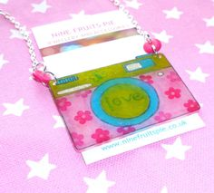 Say Cheese  70's vintage style pink green and by NiNEFRUiTSPiE, £5.50