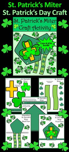 St. Patrick's Miter St. Patrick's Day Craft Activity : Printable St. Patrick's Miter craft activity packet allows your students to tie in a little history along with fun on St. Patrick's Day.  Contents Include: * Front panel and decorations for St. Patrick's Miter * Back panel and decorations for St. Patrick's Miter  #St #Patrick's #Day #Miter #Craft #Activities #Teacherspayteachers
