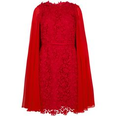 Giambattista Valli Red Guipure Lace Cape Dress (£2,715) ❤ liked on Polyvore featuring dresses, red dresses, red lace dresses, red bow dress, scalloped dress and giambattista valli dress