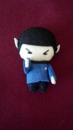 Please read shop announcement before purchasing for any news regarding shipping times! This listing is for one doll. For all you Star Trek fans out there...choose your favorite :) This little guy is hand sewn, made of felt and stands 3-4 inches tall. If youd like a specific