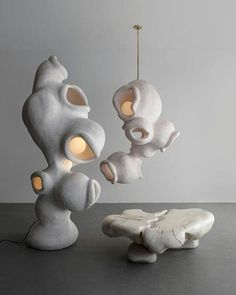 "ronbeckdesigns: "" ""Fertility Form"" Pendant Light in Gypsum by Rogan Gregory, 2018 source "" Plywood Furniture, Plumbing Pipe Furniture, Design Furniture, Chandelier Pendant Lights, Modern Chandelier, Pendant Lamp, Tom Dixon, Zaha Hadid, Futuristic Furniture"