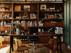 by roman & williams design. Home Office Small Home Office Design cozy gold home office design Home Library Design, Home Office Design, House Design, Office Designs, Roman And Williams, Masculine Interior, Sweet Home, Industrial Office, Industrial Furniture