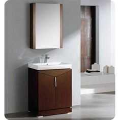 Buy the Fresca Wenge Brown Direct. Shop for the Fresca Wenge Brown Elissos Engineered Wood Vanity With Mirror, Sink, Countertop, P-Trap, Pop Up Drain and Installation Hardware and save. Discount Bathroom Vanities, Small Bathroom Vanities, Single Bathroom Vanity, Bath Vanities, Bathroom Fixtures, Sinks, Bathroom Ideas, Brown Modern Bathrooms, Brown Bathroom