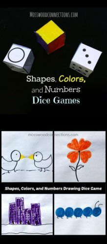 Dice Games Dice Games Count and draw shapes. The children learn colors, shapes, number correspondence, sequencing and addition.