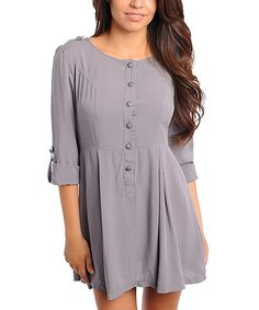 Take a look at this Gray Button-Up Dress by Buy in America on #zulily today! Needs leggings. Misses Clothing, That Look, Take That, Button Up Dress, Frocks, Feminine, Tunic Tops, Buttons, Grey