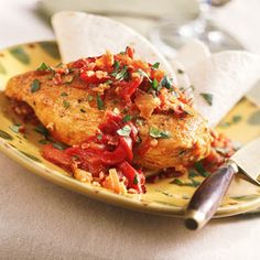 Healthy Chicken Recipes Under 200 Calories  | Smoked Chicken with Roasted-Red Pepper Sauce | MyRecipes.com