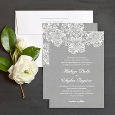 Vintage lace wedding invitation in grey by elli.com