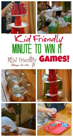 Kid Friendly Easy Minute To Win It Games for Your Party via Kid Friendly Things to Do - Simple and fun games for your holiday, school, New Years, or anytime party!