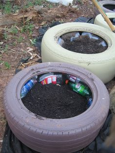 TIRE GARDEN | Used plastic bottles for filler.