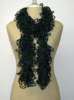 Dark teal petrol green scarf fashion frilly by PurpleSageDesignz, $ 25.00