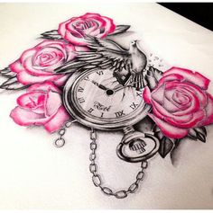 Pink Rose Flowers And Clock Tattoo Design Rose Tattoos, Flower Tattoos, Body Art Tattoos, New Tattoos, Girl Tattoos, Sleeve Tattoos, Tattoos For Women, Dove And Rose Tattoo, Clock Tattoo Design