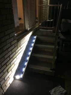 Dog ramp with automatic led lighting.  I want something like this on my stairs for little Minnie cats