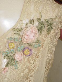 Silk RibbonWork Roses Flapper Lingerie Lace by SimplyCottageChic, $195.00