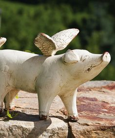 Loving this When Pigs Fly Garden Figurine on #zulily! #zulilyfinds