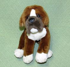 "Animal Alley Plush BOXER Puppy Dog Mastiff Brown White 11"" Long Toys R US Lovey #AnimalAlley"