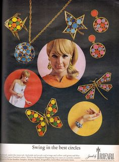 1967 Trifari jewelry ad ''Swing in the best circles''