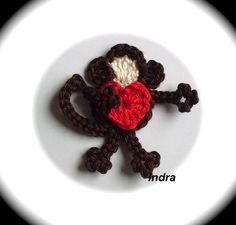 Häkelapplikationen - Affe Herz gehäkelt Häkelapplikation Häkelblume - ein Designerstück von Ing-Indra bei DaWanda
