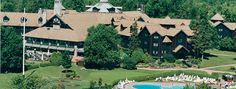 Chateau Montebello in Quebec -exterior of this HUGE log-cabin style resort.  Loved going there in July with my sweetie!