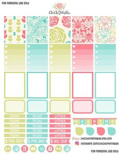 Free Printable Floral Planner Stickers from Chic Chic Prints To Do Planner, Free Planner, Planner Pages, Happy Planner, Planner Ideas, Planer Organisation, Midori, Printable Planner Stickers, Mambi Stickers
