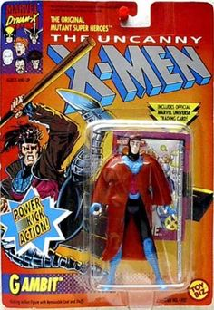 The Uncanny X-Men Gambit Power Kick Action Figure by Toy Biz. $19.95. Power Kick Action!. Includes Official Marvel Universe Trading Card!. Removable Coat and Staff.. Produced in 1992.