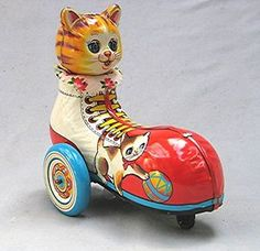 Vintage Tin windup Cat in shoe Made in Japan