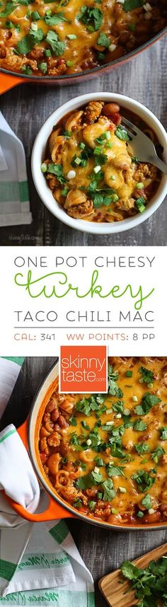 One Pot Cheesy Turkey Taco Chili Mac – pure comfort food, packed with protein & fiber all in one pot!
