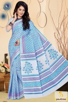 Exclusive range of amazing and latest sky color Indian saree with pure cotton…